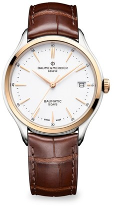 Baume & Mercier Clifton Baumatic Two-Tone Stainless Steel Alligator Strap Watch
