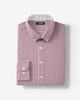 Express extra slim fit plaid button collar performance shirt