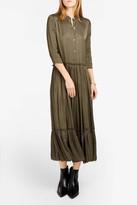 Raquel Allegra Liquid Satin Shirred Maxi Dress