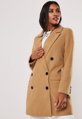 Missguided Camel Oversized Double Breasted Coat