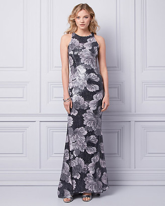 Le Château Sheer Back Sequin Gown