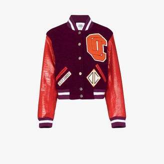 Opening Ceremony Logo Applique Cropped Varsity Jacket