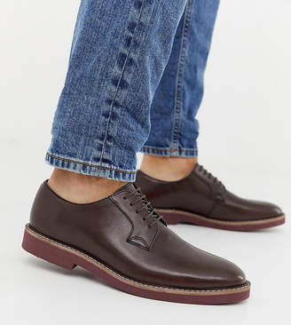 Asos Design DESIGN Wide Fit lace up shoes in brown leather with chunky brick sole