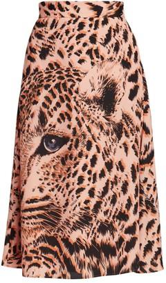MSGM Gonna Leopard Print Midi Skirt