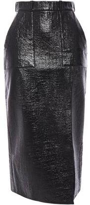 David Koma Coated Cotton-blend Boucle-tweed Midi Skirt