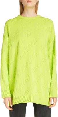 Balenciaga Tonal Logo Jacquard Cotton Sweater