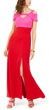 Night Way Nightway Colorblocked Cold-Shoulder Gown