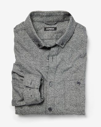 Express Slim Solid Stretch Flannel Shirt