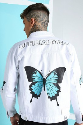 boohoo Mens White Loose Fit Butterfly Back Print Denim Jacket, White