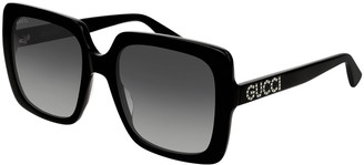 Gucci Square Acetate Sunglasses w/ Swarovski Crystal Logo Temples