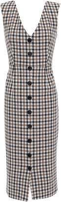 Veronica Beard Gingham Cotton-blend Midi Dress