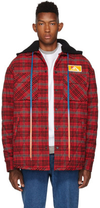 Off-White Red Check Flannel Over Shirt Jacket