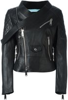 DSQUARED2 tie collar biker jacket - women - Lamb Skin/Polyester/Viscose - 40