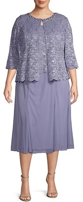 Alex Evenings Plus 2-Piece Lace Tea-Length Dress Jacket Set