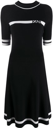 Karl Lagerfeld Paris Logo Intarsia Knitted Dress