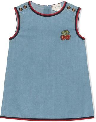 Gucci Kids Strawberries Embroidered Denim Dress
