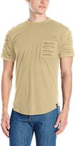 Southpole Men's Short Sleeve Scallop T-Shirt with Ripped Details on Pocket and Sleeves