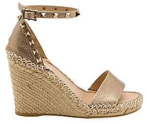 Valentino Women's Garavani Rockstud Metallic Leather Espadrille Wedge Sandals