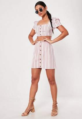 Missguided Pink Co Ord Lace Stripe Button Front Mini Skirt