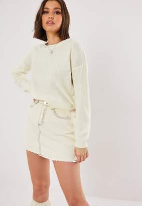 Missguided Cream Drop Sleeve Knit Jumper