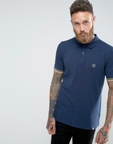 Pretty Green Tedburn Pique Polo With Knit Stripe Cuffs In Navy