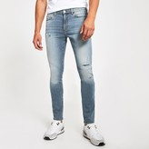 Mens River Island Mid Blue bleach Sid stretch skinny jeans