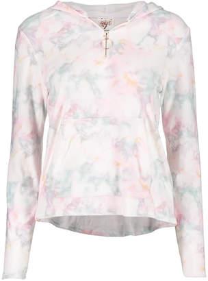 Self Esteem Women's Sweatshirts and Hoodies White - White Marble Kangaroo-Pocket Hooded Pullover - Juniors