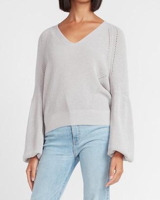 Express Metallic Balloon Sleeve V-Neck Sweater