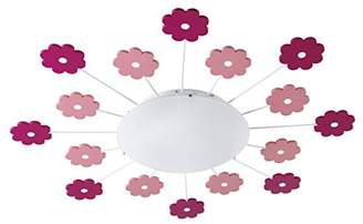 Camilla And Marc Eglo 92147 Viki 1 Ceiling Light for Children's Bedrooms Boys and Girls with Pink Flowers, Diameter 61.5 cm, Steel