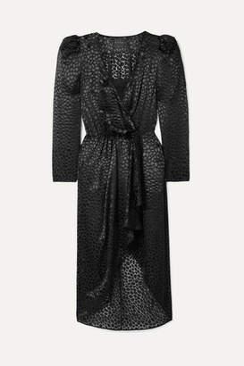 Dundas Fil Coupe Chiffon Wrap Dress - Black