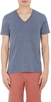 Barneys New York MEN'S MÉLANGE JERSEY V-NECK T-SHIRT-BLUE SIZE M