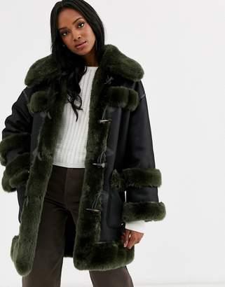 Urban Code Urbancode reversible faux fur duffle coat-Black