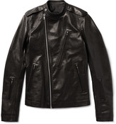 Rick Owens Cyclops Slim-Fit Grained-Leather Biker Jacket