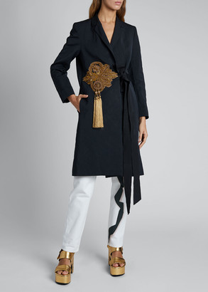 Dries Van Noten Embroidered Belted Coat
