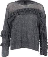 River Island Womens Dark silver lurex knit frill front jumper