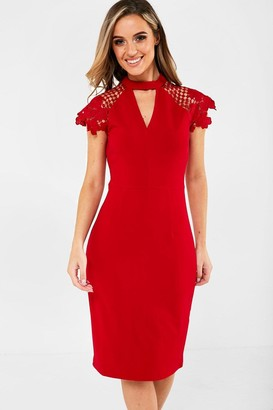 Iclothing iClothing Gaia Occasion Dress With Lace Sleeve in Red