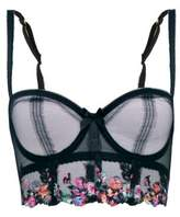 Agent Provocateur Ivey Floral-embroidered Bustier - Womens - Black Multi