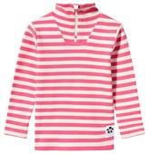 Mini Rodini Stripe Rib Polo Tee Pink