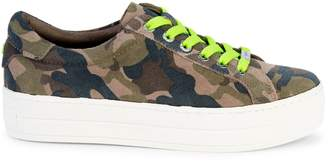 J/Slides Hippie Neon Camo Leather Low-Top Sneakers