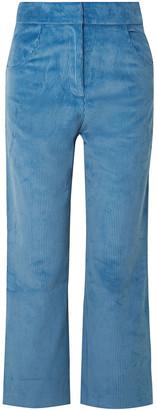 Sandy Liang Cropped Cotton-corduroy Wide-leg Pants