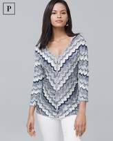 White House Black Market Petite V-Neck Chevron Sweater