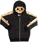 Leopard Print Cotton Sweatshirt W/ Skull
