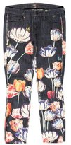Mother Cropped Floral Jeans