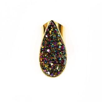 Tiana Jewel Divine Love Tear Drop Statement Rainbow Cuff Gemstone Ring