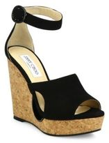 Jimmy Choo Neyo 120 Cutout Suede Ankle-Strap Cork Wedge Sandals