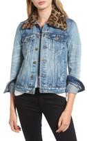 Pam & Gela Women's Denim Jacket With Detachable Genuine Fur Collar