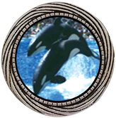 GiftJewelryShop Ancient Style Silver Plate Killer Whale Show Winding Pattern Pins Brooch