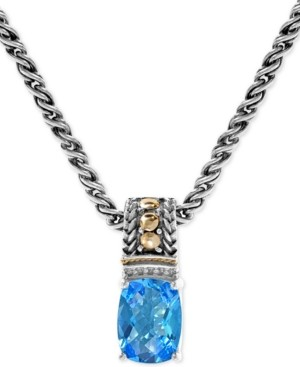 """Effy Blue Topaz (2-3/8 ct. t.w.) & Diamond Accent 18"""" Pendant Necklace in Sterling Silver & 18k Gold"""