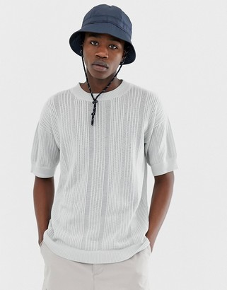 Asos dropped shoulder short sleeve jumper in fine stripe-Grey