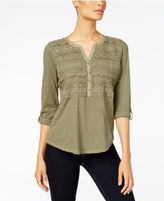 Style&Co. Style & Co Crochet-Detail Top, Created for Macy's